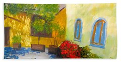 Hand Towel featuring the painting Tuscany Courtyard 2 by Pamela  Meredith