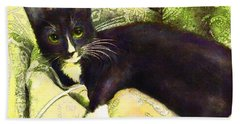 Hand Towel featuring the digital art Tuxedo Cat by Jane Schnetlage