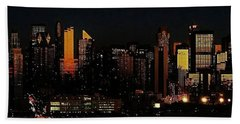 Bath Towel featuring the photograph Twilight Reflections On New York City by Lilliana Mendez