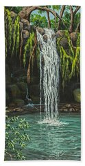 Hand Towel featuring the painting Twin Falls by Darice Machel McGuire