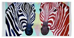 Bath Towel featuring the painting Twin Zs by Phyllis Kaltenbach
