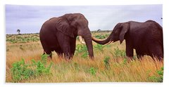 Two African Elephants Loxodonta Bath Towel