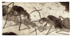 Two Ants In Communication - Etching Hand Towel