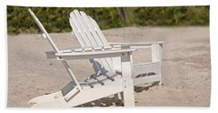 Hand Towel featuring the photograph Two Beach Chairs by Charles Beeler