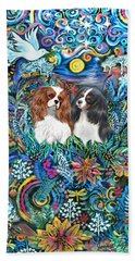 Two Cavaliers In A Garden Hand Towel