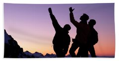 Two Climbers Silhouetted Hand Towel