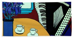 Hand Towel featuring the painting Two Cups One Accordian by Barbara McMahon