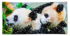 Hand Towel featuring the digital art Two Cute Panda by Lanjee Chee