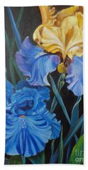 Hand Towel featuring the painting Two Fancy Iris by Jenny Lee