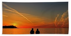 Two Friends Enjoying A Sunset Bath Towel