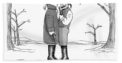 Two Gentlemen Stand Nose-to-nose With Guns Bath Towel