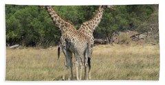 Two Giraffes Giraffa Camelopardalis Hand Towel