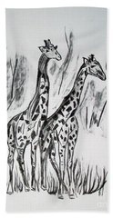 Hand Towel featuring the drawing Two Giraffe's In Graphite by Janice Rae Pariza
