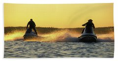 Two Jet Skis In Open Water At Sunset Bath Towel