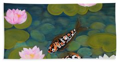 Two Koi Fish And Lotus Flowers Hand Towel