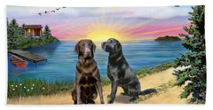 Two Labs At The Lake Hand Towel