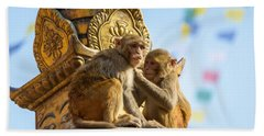 Two Macaques On Top Of Chorten Bath Towel