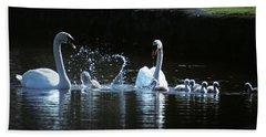 Two Mute Swans With Young Cygnus Olor Hand Towel