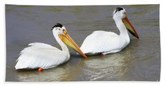 Hand Towel featuring the photograph Two Pelicans by Alyce Taylor