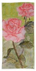 Two Pink Roses Hand Towel