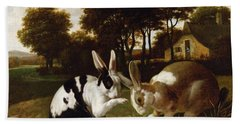 Two Rabbits In A Landscape, C.1650 Bath Towel