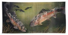 Two Rainbow Trout Hand Towel by Donna Tucker