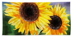Two Suns Sunflowers Hand Towel