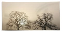 Two Trees In Fog Bath Towel