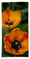 Two Tulips Bath Towel by Denyse Duhaime
