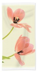 Two Tulips In Pink Transparency Bath Towel
