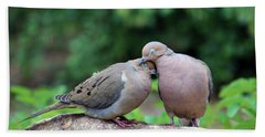 Two Turtle Doves Hand Towel by Cynthia Guinn