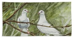 Two White Doves Hand Towel