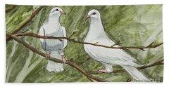 Two White Doves Bath Towel