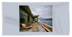 Two Women On The Deck Of A House On A Lake Hand Towel