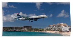 U S Airways Low Approach To St. Maarten Bath Towel by David Gleeson