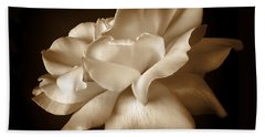 Umber Rose Floral Petals Bath Towel