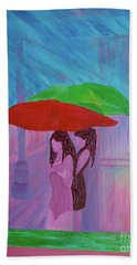 Bath Towel featuring the painting Umbrella Girls by First Star Art