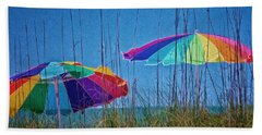 Umbrellas On Sanibel Island Beach Hand Towel