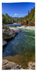 Bath Towel featuring the photograph Umpqua River by David Millenheft