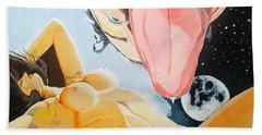 Bath Towel featuring the painting Unbridled Night Noche Desbocada by Lazaro Hurtado
