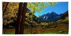 Under Golden Trees Bath Towel by Jeremy Rhoades