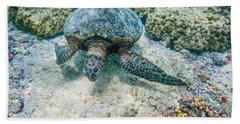 Swimming Turtle Bath Towel by Denise Bird
