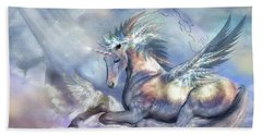 Unicorn Of Peace Hand Towel by Carol Cavalaris