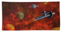 Hand Towel featuring the painting Unidentified Flying Object by Randol Burns