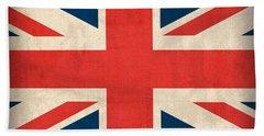 United Kingdom Union Jack England Britain Flag Vintage Distressed Finish Hand Towel