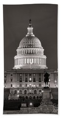 United States Capitol At Night Hand Towel