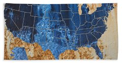 United States In Navy Blue And Rust Bath Towel
