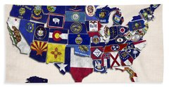 United States Map With Fifty States Bath Towel