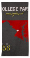 University Of Maryland Terrapins College Park College Town State Map Poster Series No 061 Bath Towel