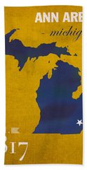 University Of Michigan Wolverines Ann Arbor College Town State Map Poster Series No 001 Hand Towel by Design Turnpike